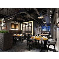 实木火锅桌铁艺圆形桌子复古餐桌椅组合简约饭桌家用餐厅大圆桌