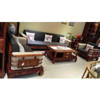 红木家具刺猬紫檀新中式客厅转角沙发五件套