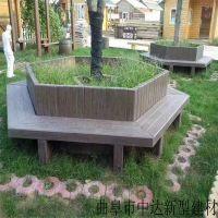 水泥仿树皮坐凳 户外景观配套仿树皮桌椅 仿木树围