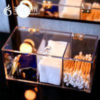 化妆棉盒子收纳盒 棉签盒透明亚克力化妆品口红桌面手工整理盒亚克力盒子