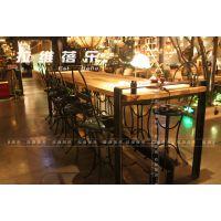 西安咖啡厅工业风铁艺实木吧桌定做生产厂家