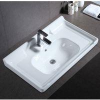 卫生间浴室陶瓷一体白色台上便捷按照浴室柜盆