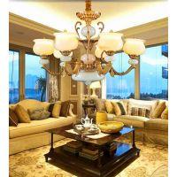 进丰灯饰欧式客厅全铜吊灯玉石纯铜餐厅大气奢华别墅灯具