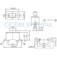 SOFNG TS-1101E 外形尺寸:3.5mm*6.0mm*4.3mm