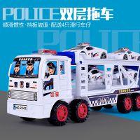 儿童玩具大号惯性车双层拖车带四辆迷你警车玩具车批发