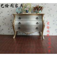 美式乡村古典手绘家具 现代卧室客厅实木储物三斗柜子