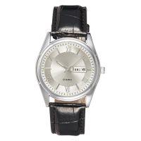 厂家批发男款皮带防水时尚英伦风双日历夜光指针手表