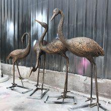 公园草地装饰景点摆件古铜色仿真丹顶鹤玻璃钢雕塑
