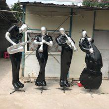 玻璃钢制作西方音乐人物吹萨克斯、吹锁啦、拉大提琴造型 KTV会所装饰摆件