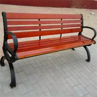 沧州志鹏户外铸铁公园椅 园林实木椅子 塑木平凳靠背椅 厂家定制