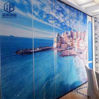 广州办公隔断屏风铝合金 隔音墙 爱奉古典风格 折叠门上门安装