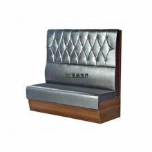 复古板式小龙虾餐厅卡座沙发,特色主题菜馆双人卡座椅子