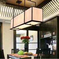 现代新中式餐厅吊灯简约大气仿古铁艺创意长方形中式灯具