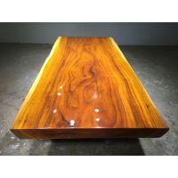 奥坎实木大板桌215长100宽 原木餐桌茶台办公桌画案现货
