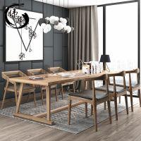 美式实木办公桌 小型会议桌长条桌全实木洽谈桌职员办公桌椅组合