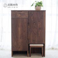 北欧简约现代日式玄关柜纯实木鞋柜 对开门储物柜白橡木黑胡桃木