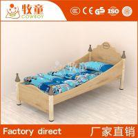广州牧童简约现代儿童实木床带护栏 幼儿午睡木床 幼儿园儿童专用床定制