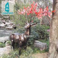 度帆户外红枝鹿玻璃钢雕塑摆件 园林动物雕塑