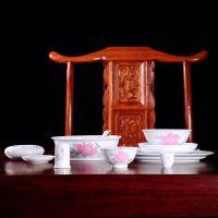 釉下五彩红月季花陶瓷餐具 锦盒包装 送礼佳品 家用碗碟盘套装