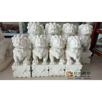 石雕石狮 看门镇宅石狮一对 汉白玉石狮风水摆件墓地石狮现货销售 玖坊雕塑