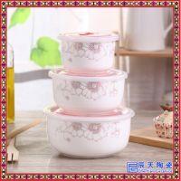 多层手提便携陶瓷饭盒微波炉保鲜泡面碗便当盒密封筷勺