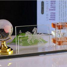 天津优质水晶摆件 高档水晶台历名片夹定制 办公室摆件商务礼品