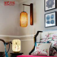 中式木艺壁灯 别墅中国阳台过道壁灯 厂家直销木艺编织灯笼
