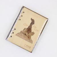 竹木工坊工厂供应景区热卖定制礼品木质笔记本 特色地标建筑笔记本定制