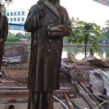 园林公园广场仿铸铜商人雕像玻璃钢买小食商贩人物雕塑古铜色民国生意人树脂摆件奇美定做厂