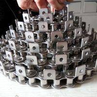 国标不锈钢链条厂家 12A传动滚子弯板链条乾德定制
