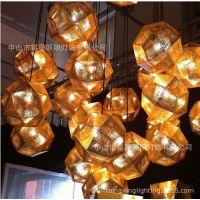 创意光影多面不锈钢球吊灯网球状圆形金属灯卧室餐厅客厅吧台吊灯