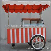 商用室外冰淇淋柜雪糕冰柜车移动花车推车式冰激凌展示柜