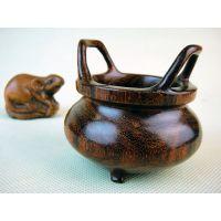 供应小叶紫檀香具小盘香炉工艺品 木雕明式双耳冲天熏香炉E63号