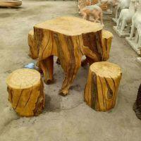 定做水泥雕塑水泥仿木桌子圆桌桌凳园林广场庭院水泥长椅桌椅摆件