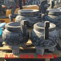 石雕青石仿古香炉寺庙墓地祭祀供奉长形石头圆鼎雕塑摆件精品销售