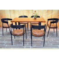海德利北欧LOFT铁艺皮革餐桌椅组合 大桌子长方形定制椅