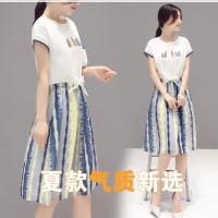 2018春夏新款女装 韩版时尚短袖圆领T+吊带碎花连衣裙套装女