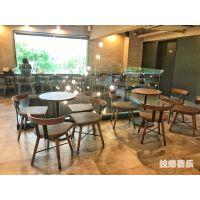 上海星巴克咖啡厅实木桌椅定做