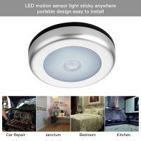 圆形超薄LED人体感应灯 红外线感应橱柜灯 感应衣灯 电池款小夜灯