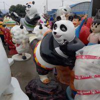 仿真彩绘功夫熊猫/玻璃钢雕塑/卡通大奶牛天然树脂摆件