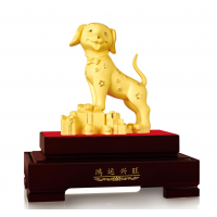 金莱福绒沙金工艺品新年生肖黄金狗摆件银行保险商务馈赠定制礼品