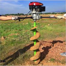 打孔速度快的汽油挖坑机 加深立杆打坑机 动力强劲地面打孔机