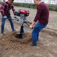 各种土质电线杆挖坑机 启航带动手提打眼机厂家 果树施肥小直径钻孔机