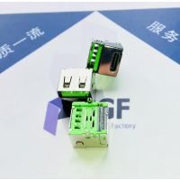 TYPE C+USB2.0二合一母座|180度立式DIP插板+鱼叉脚 双口直边 绿胶