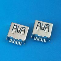 USB 3.0 AF母座 180度插板 四脚鱼叉9PIN 直边 蓝色胶芯