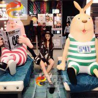 越狱兔玻璃钢雕塑美陈商场儿童节活动装饰游乐园吸引人流可定制