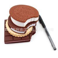 厂家定制节日创意小礼物批发 巧克力味饼干造型笔记本 随身迷你广告记事本
