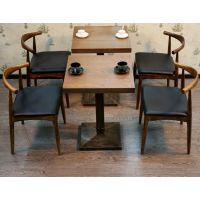 麦德嘉厂家供应铁艺美式乡村脚餐桌 室内咖啡厅西餐厅定制尺寸实木餐桌椅MDJ-MS01