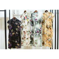 杭州一线品牌迪兰世家18夏款 时尚真丝旗袍折扣货源