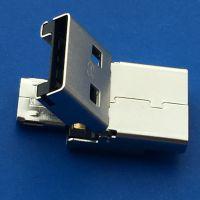 OTG插头翻盖式2.0公头+MICRO 公头 焊线折叠式二合一 掀盖式